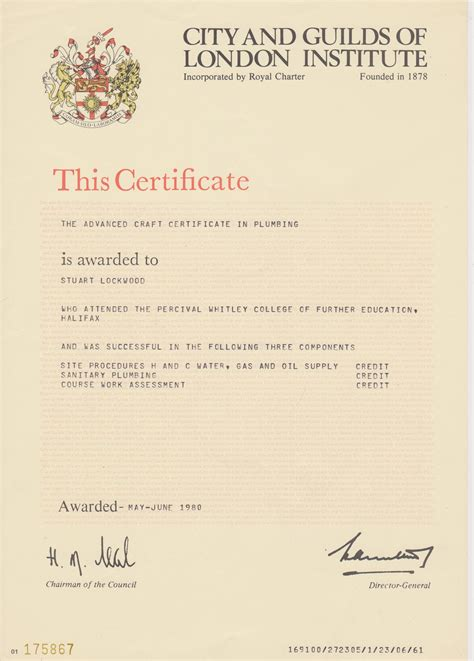 city and guilds certificate template stuart lockwood plumber
