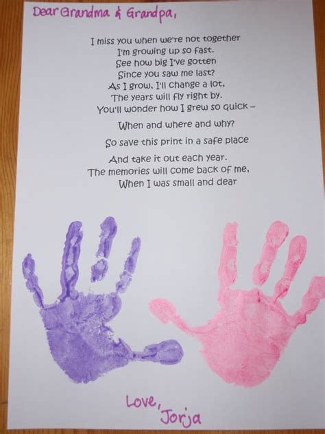 poem for grandparents handprint poem the learning house