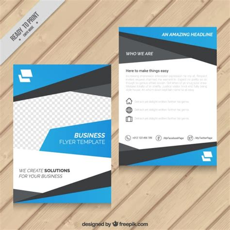 blue abstract business flyer template vector premium