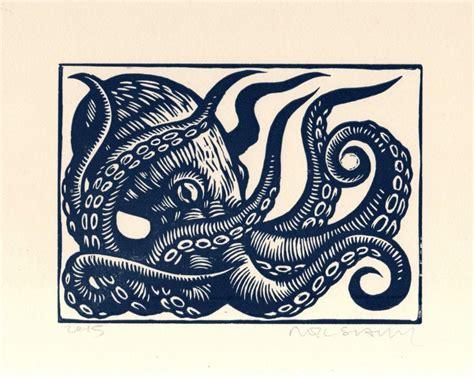 Print S octopus linocut print octopus wall octopus