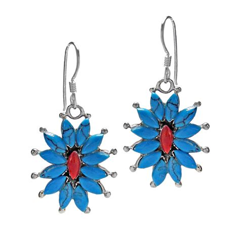 925 Sterling Silver Coral Earrings florals blue turquoise coral 925 sterling silver