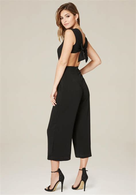 bebe crop leg day jumpsuit in black lyst