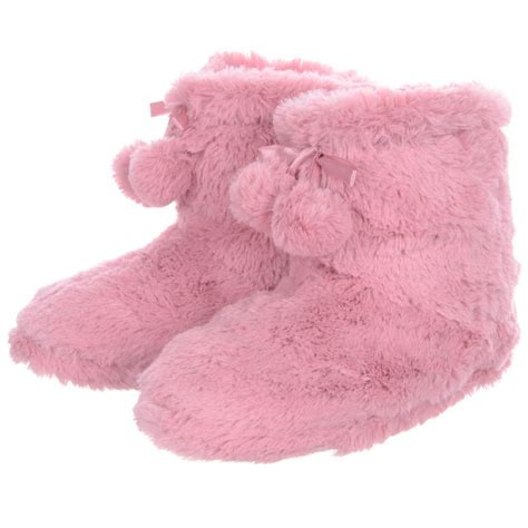 fluffy house shoes ladies fluffy cosy faux fur fleece lined ankle booties slippers with pompoms pink