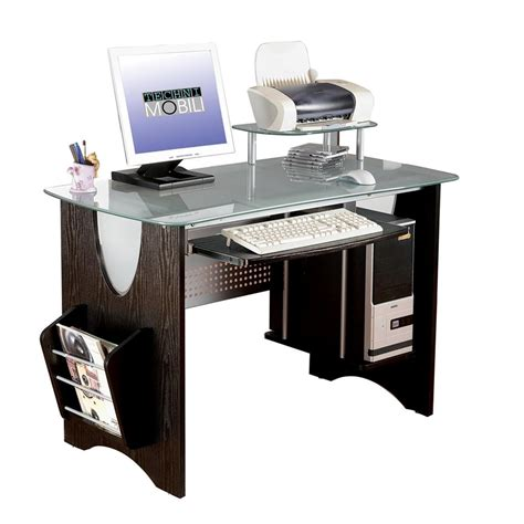 Espresso Computer Desks by Stylish Frosted Glass Top Computer Desk With Storage