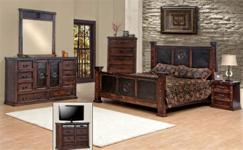 Rustic King Size Bedroom Sets by King Size Copper Creek Bedroom Set Stain Western