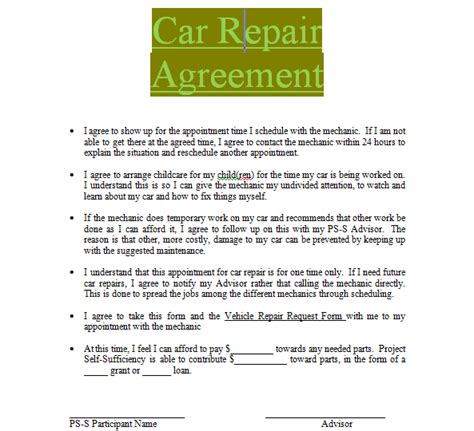 Car Repair Contract Sle To Download In Doc Word Sle Contracts Contract Templates Repair Contract Template