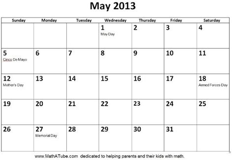 Calendar May 2013 May 2013 Calendar Gallery