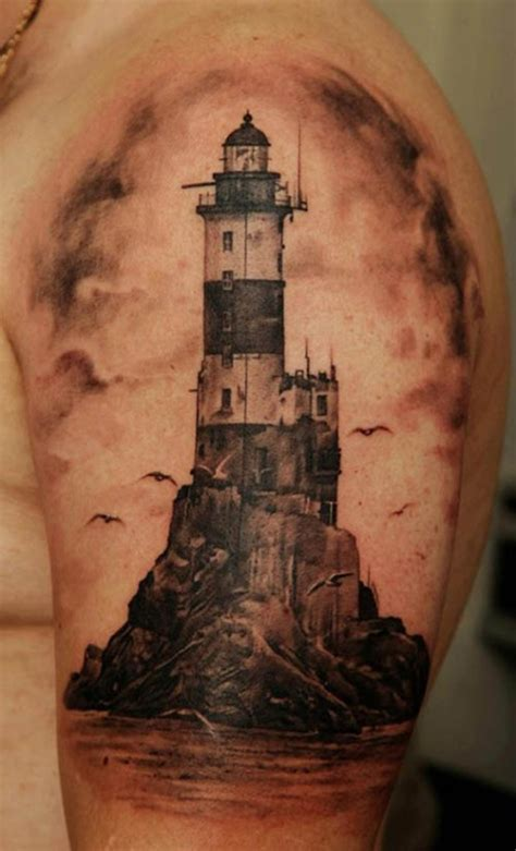 black and grey lighthouse tattoo 35 light house tattoos and meanings