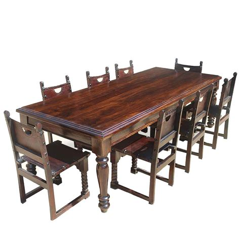 large rustic solid wood dining room table   leather