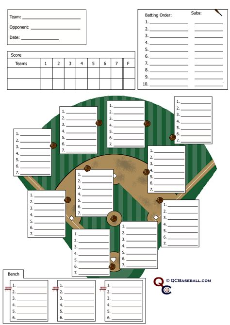 pin softball field lineup sheet on pinterest