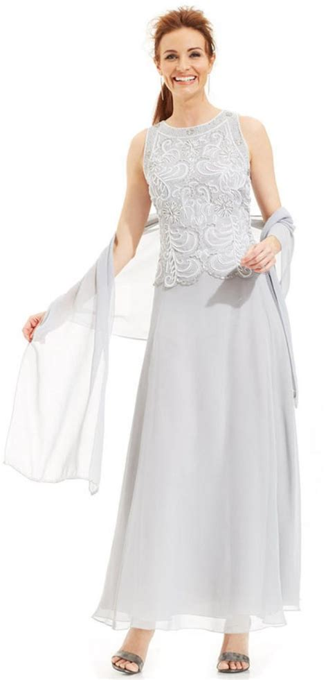 j kara beaded gown j kara beaded bodice chiffon gown and shawl 2245990