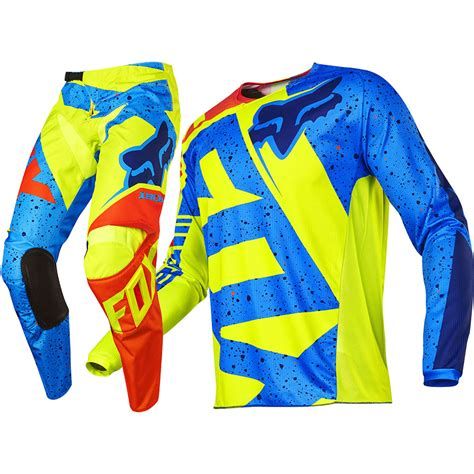youth fox motocross gear fox racing 2017 mx 180 nirv flo yellow blue jersey