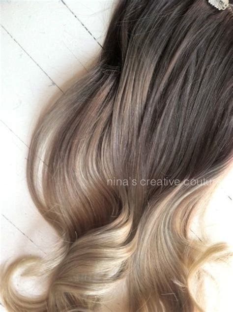 show a head of hair for light ash brown light beige brown ash blonde ombre hair ombre clip in hair extensions dark