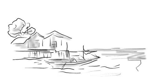 lukisan sketsa cat air dan koleksi syahyuti kung nelayan itu