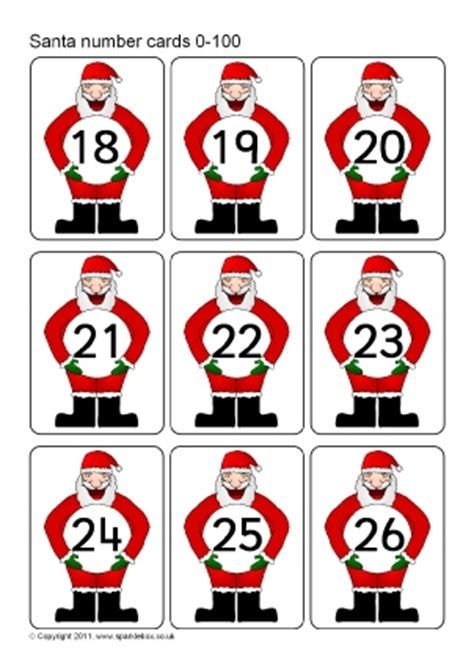 printable christmas number cards number flash cards primary teaching resources printables