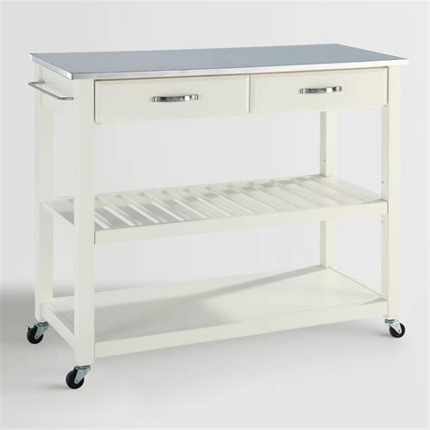 Kitchen Cart Stainless White Kitchen Cart With Stainless Steel Top World
