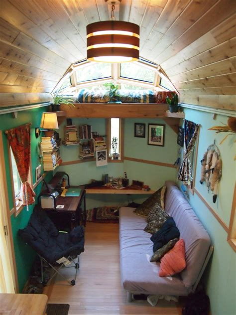 Home Decor For Small Homes A Tiny House With A Skylight Sleeping Loft Built Out The The Tiny House Itself