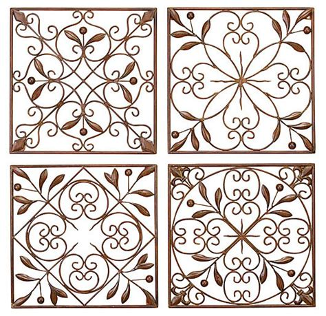 traditional wall decor artisan scroll wrought iron wall decor set of 4