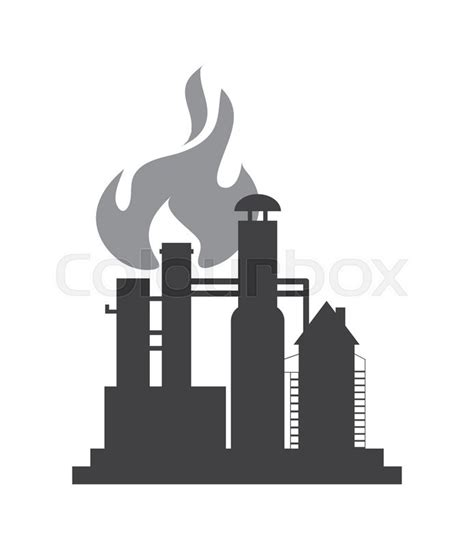 Pipe Design by Flat Design Oil Refinery Icon Vector Illustration Stock