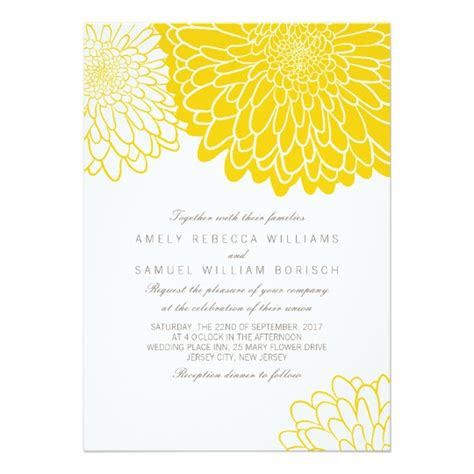 wedding invitation design yellow white yellow chrysanthemum wedding invitation zazzle com