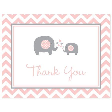 City Thank You Cards Baby Shower pink elephant baby shower thank you cards and envelopes