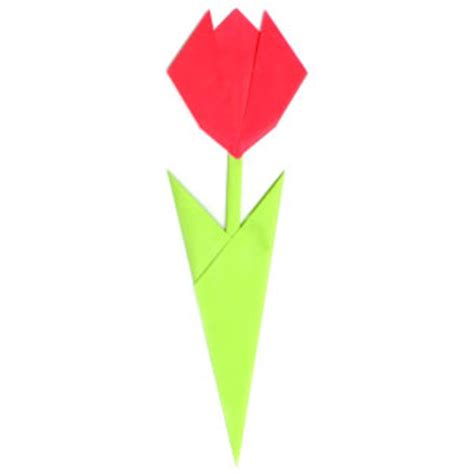 Origami Tulip Flower - how to make an easy origami tulip with two leaves page 8