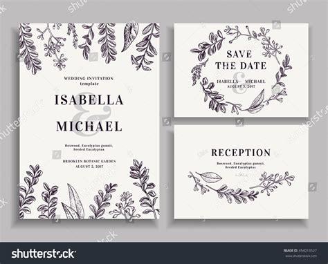 save the date wedding invitations sles vintage wedding set greenery wedding invitation stock vector 454013527