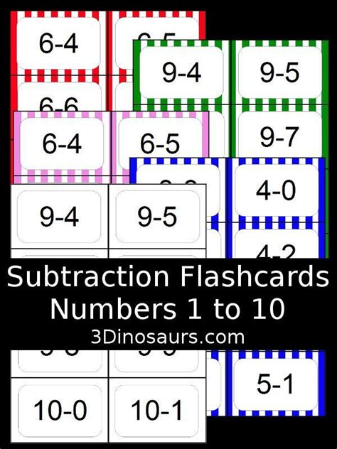 mixed number flashcards printable free subtraction flash cards 5 colors options numbers 1