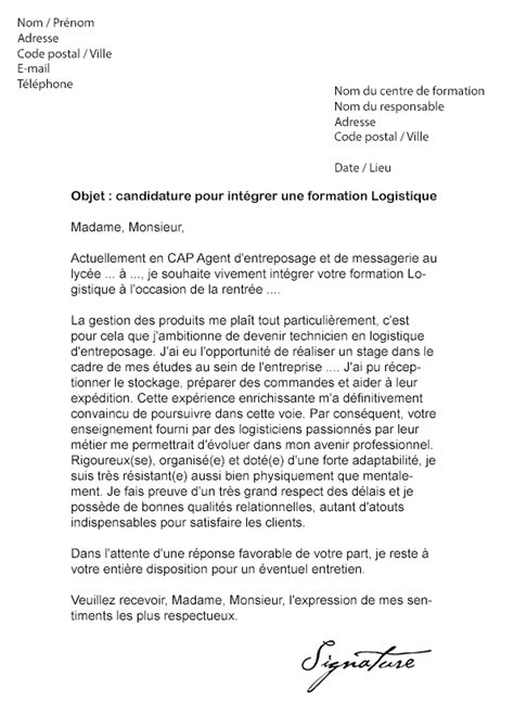 Exemple De Lettre De Motivation Logisticien Modele Lettre De Motivation Pour Formation Professionnelle Document