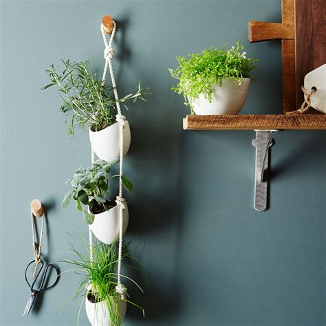 three tier hanging herb planter garden therapy 3 tier ceramic hanging planter on food52