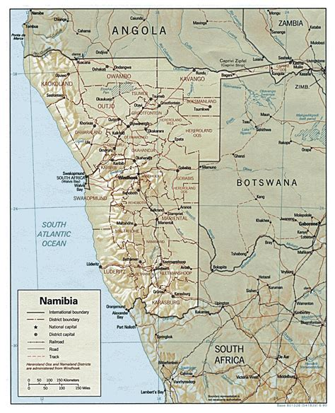 printable road map of namibia detailed relief and administrative map of namibia namibia