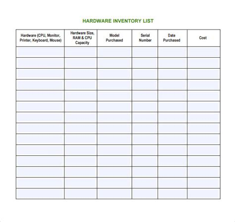 7 It Inventory Templates Sle Templates Computer Inventory Template