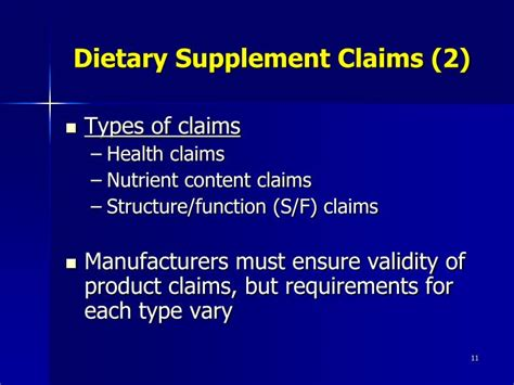 supplement claims ppt fda regulation of product claims powerpoint
