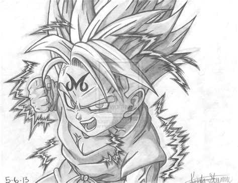 Cool Z Drawings by 2 0 Graphite Pencil Drawing Majin Kid Trunks By