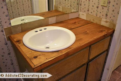 diy rustic wood countertops bathroom makeover day 2 my 35 diy wood countertop