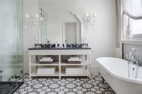 Waterworks Kitchen Faucet cream and gray moroccan floor tiles transitional bathroom