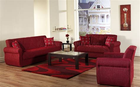 living room with red couch red fabric contemporary living room sleeper sofa w storage