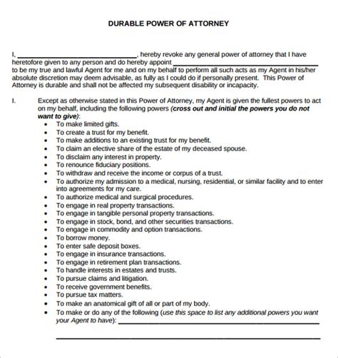 free durable power of attorney template general durable power of attorney template