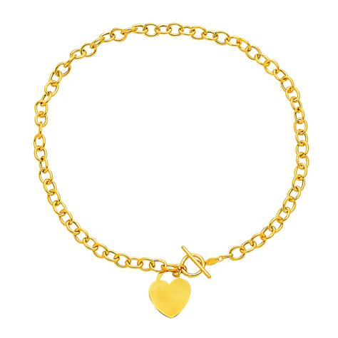 toggle necklace with charm in 14k yellow gold 14