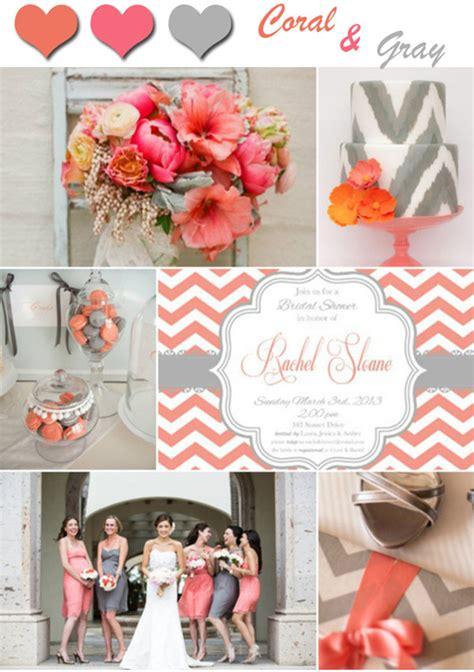 unique coral  gray wedding color ideas