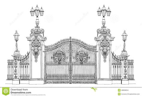 Victorian Mansion Floor Plans London Sketch Collection Buckingham Palace Gate Stock