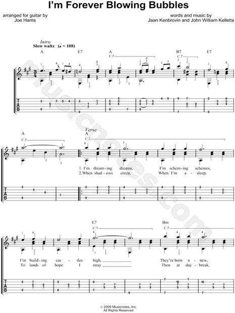Im Forever Blowing Bubbles by W Kellette Quot I M Forever Blowing Bubbles Quot Guitar Tab