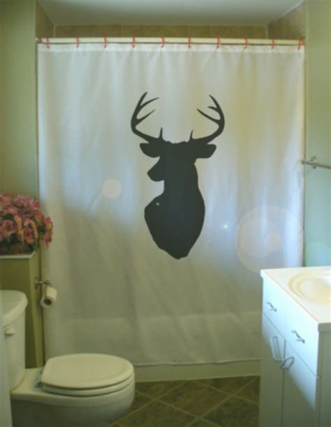head curtain stag head shower curtain wall mount antler deer hunting trophy