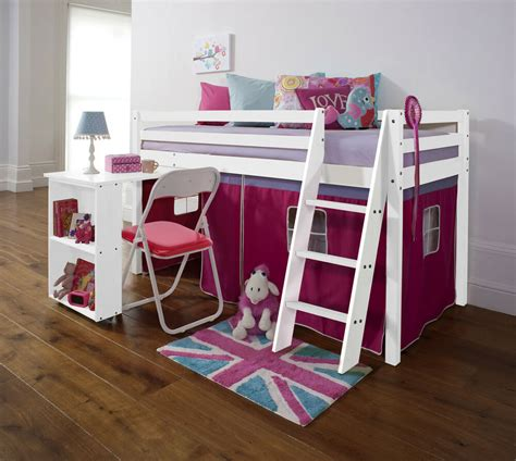 Mid Sleeper Beds by Cabin Bed Mid Sleeper With Desk In White With Pink Tent