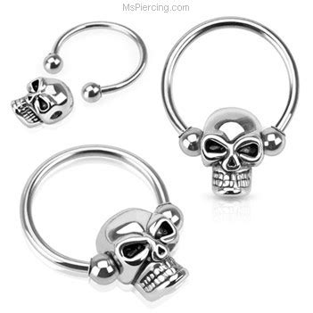 skull captive bead ring skull bead surgical steel captive bead ring at mspiercing