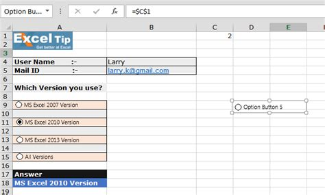excel 2010 option button tutorial how to create radio buttons in ms excel microsoft excel