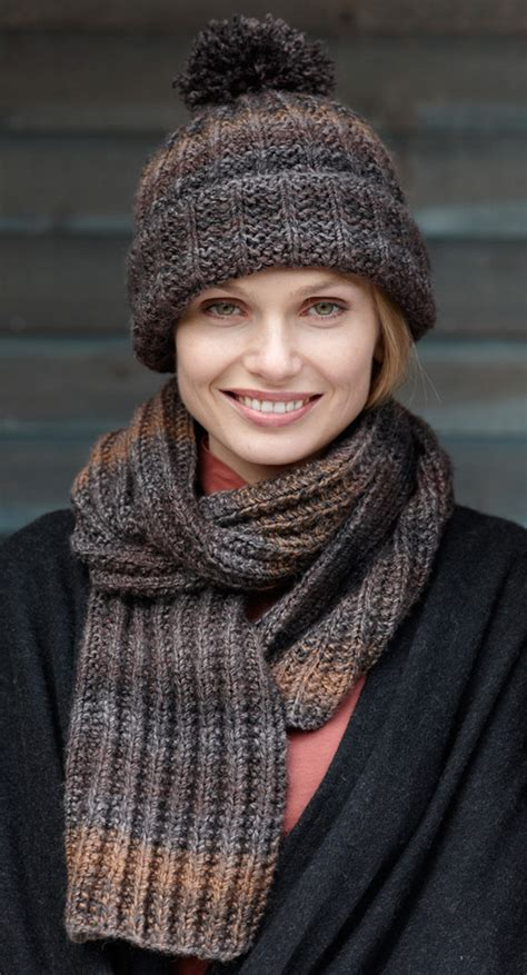rustic ribbed hat and scarf in brand tweed stripes