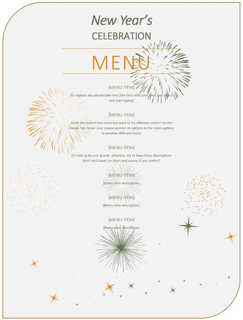 year party menu template excel word templates