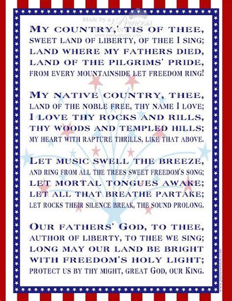 printable lyrics my country tis of thee free printable my country tis of thee i love america