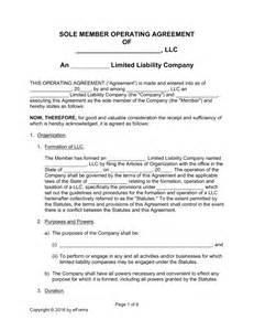 Free Llc Operating Agreement Template free single member llc operating agreement templates pdf